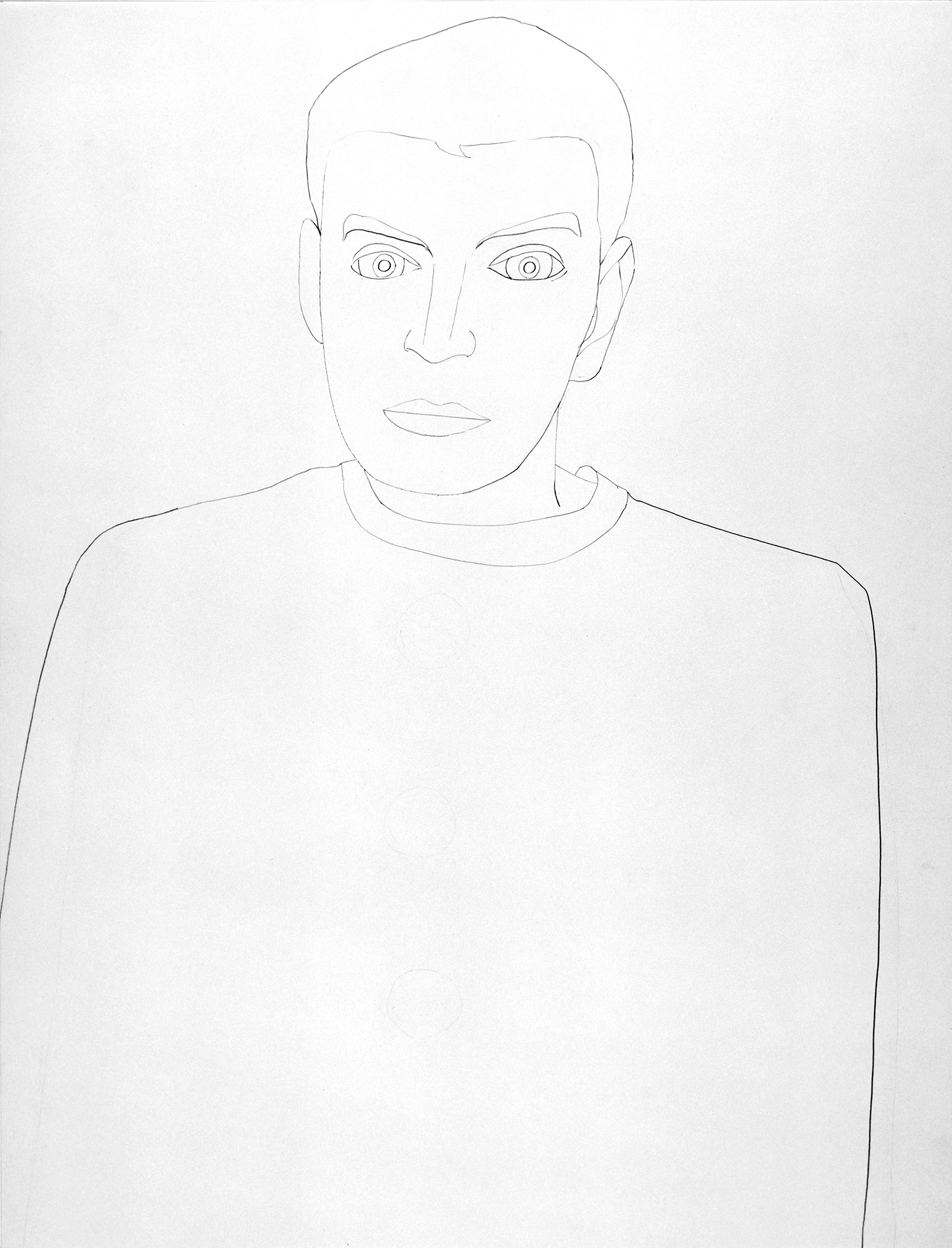 Self-portait in T-shirt, drawing by Wouter van Riessen