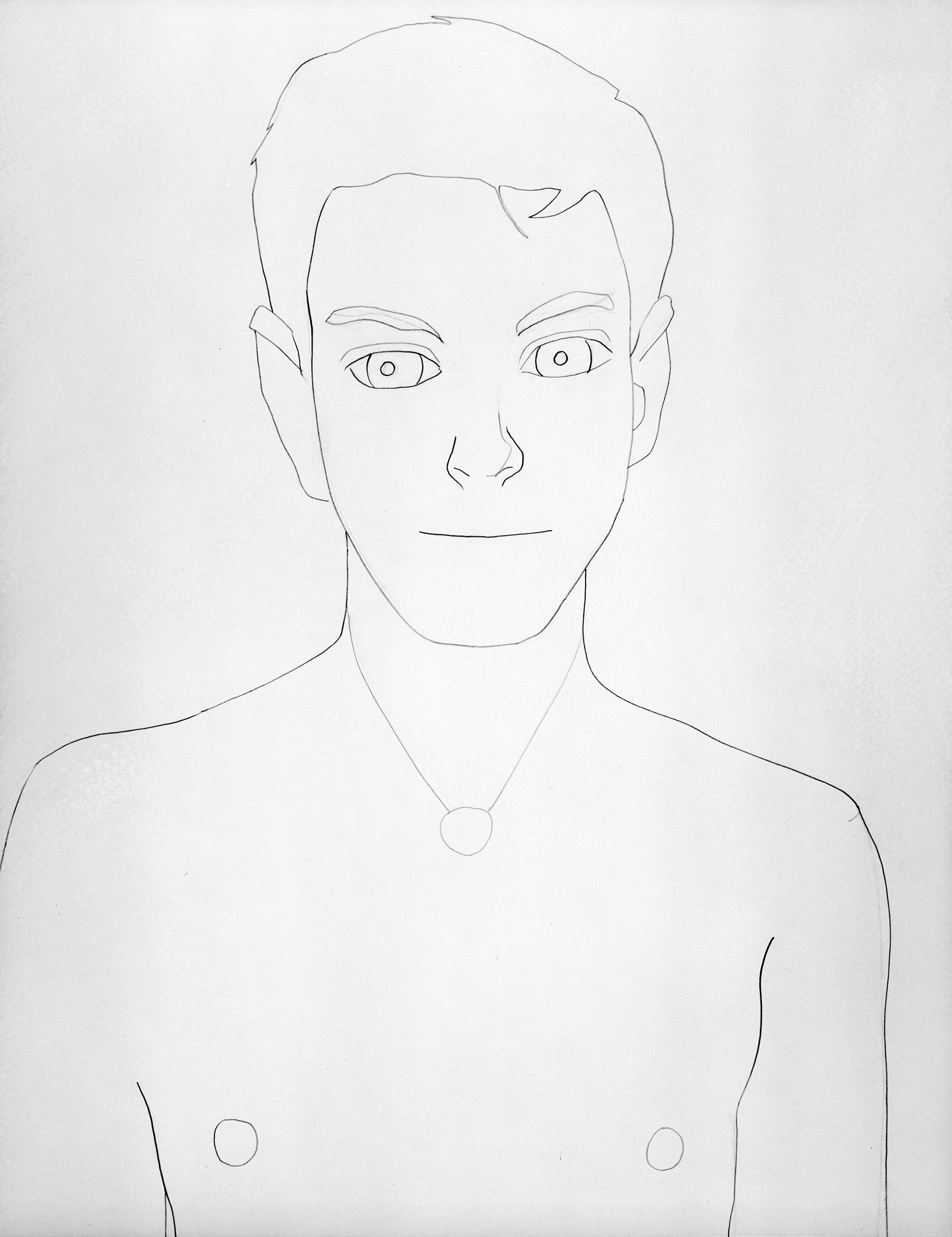 Boy, drawing by Wouter van Riessen