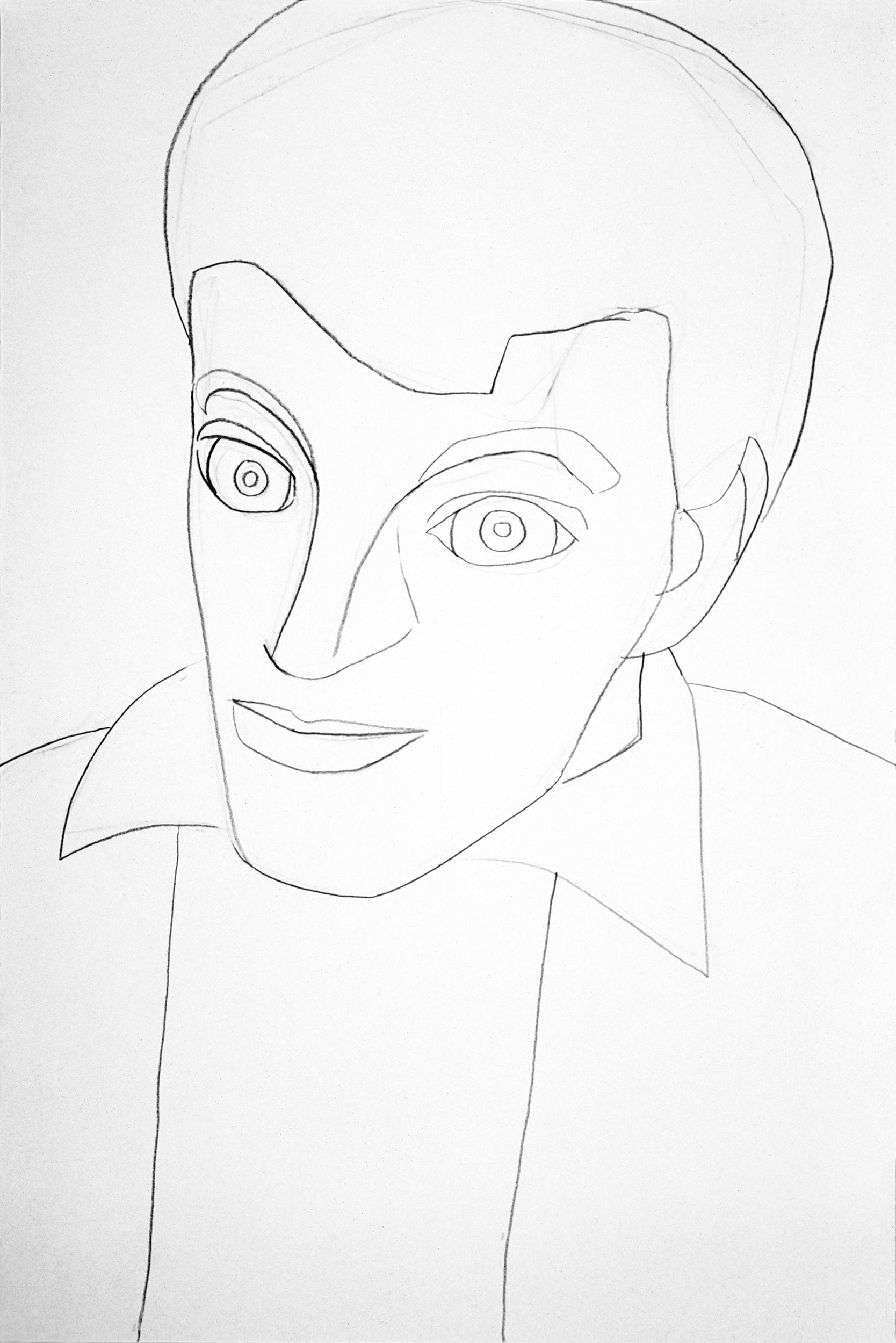 Self-portrait, drawing by Wouter van Riessen