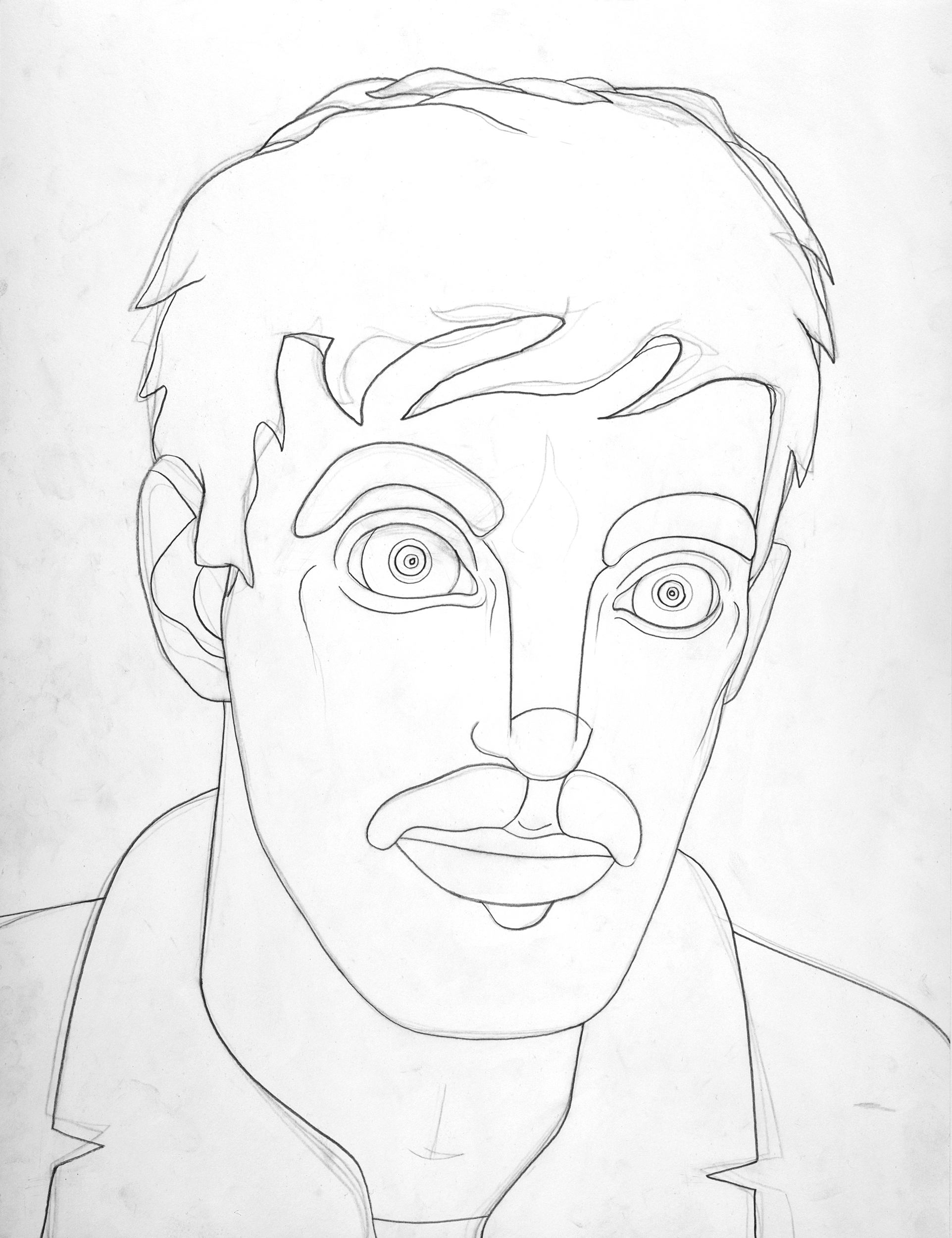 Self-portrait with Moustache, drawing by Wouter van Riessen