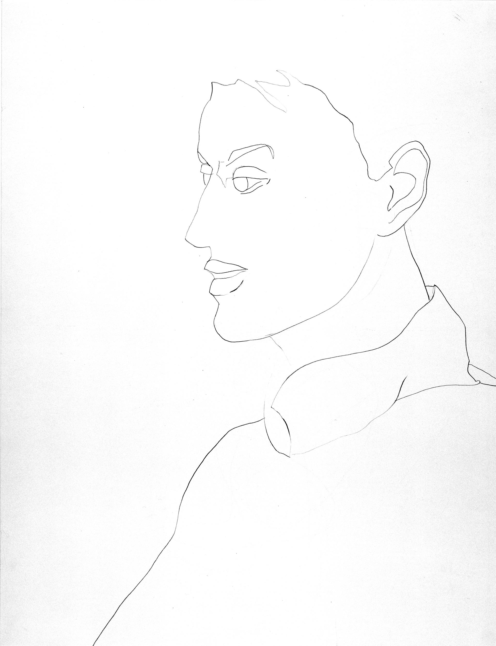 Self-portrait (profile), drawing by Wouter van Riessen