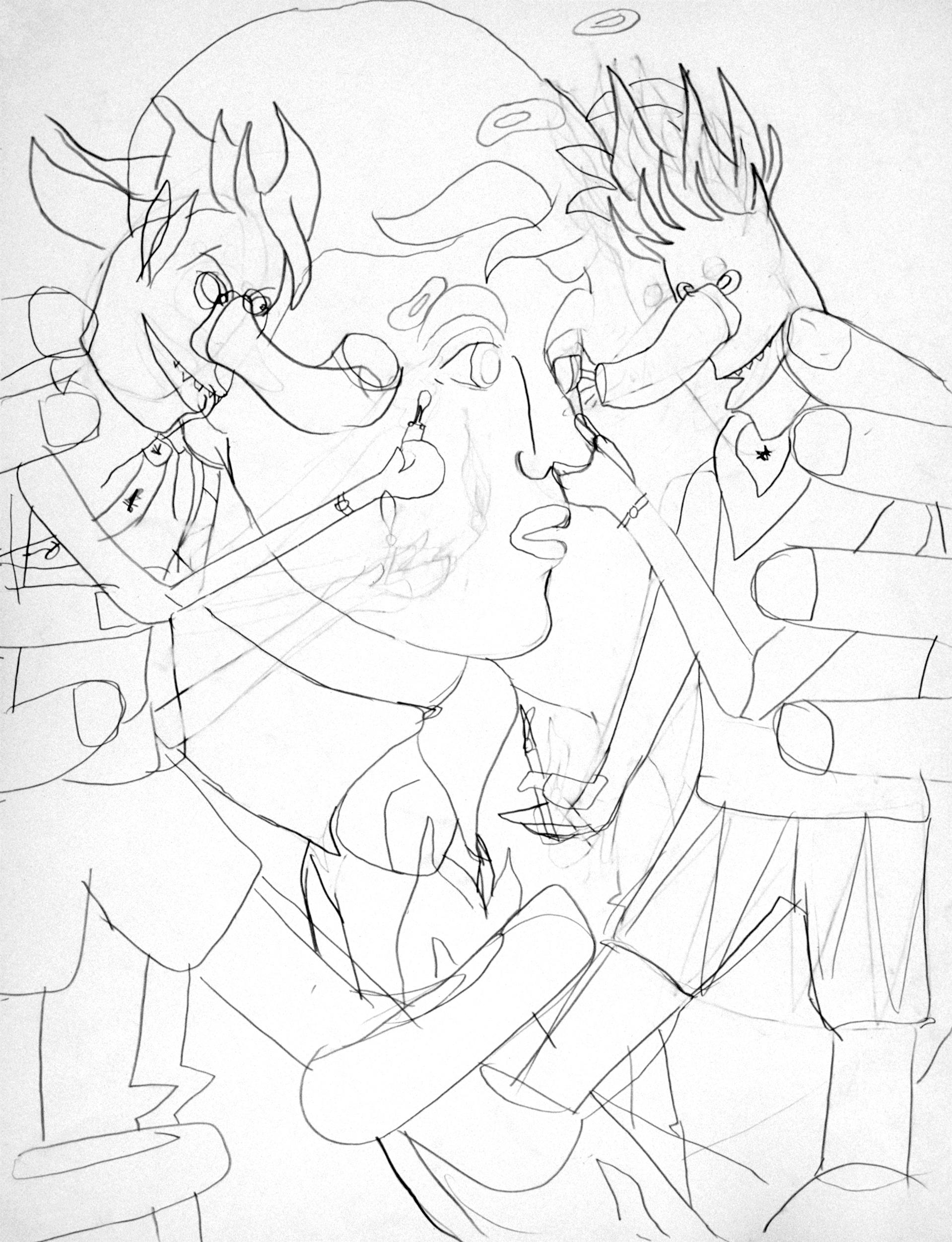 Mocking (wild), drawing by Wouter van Riessen