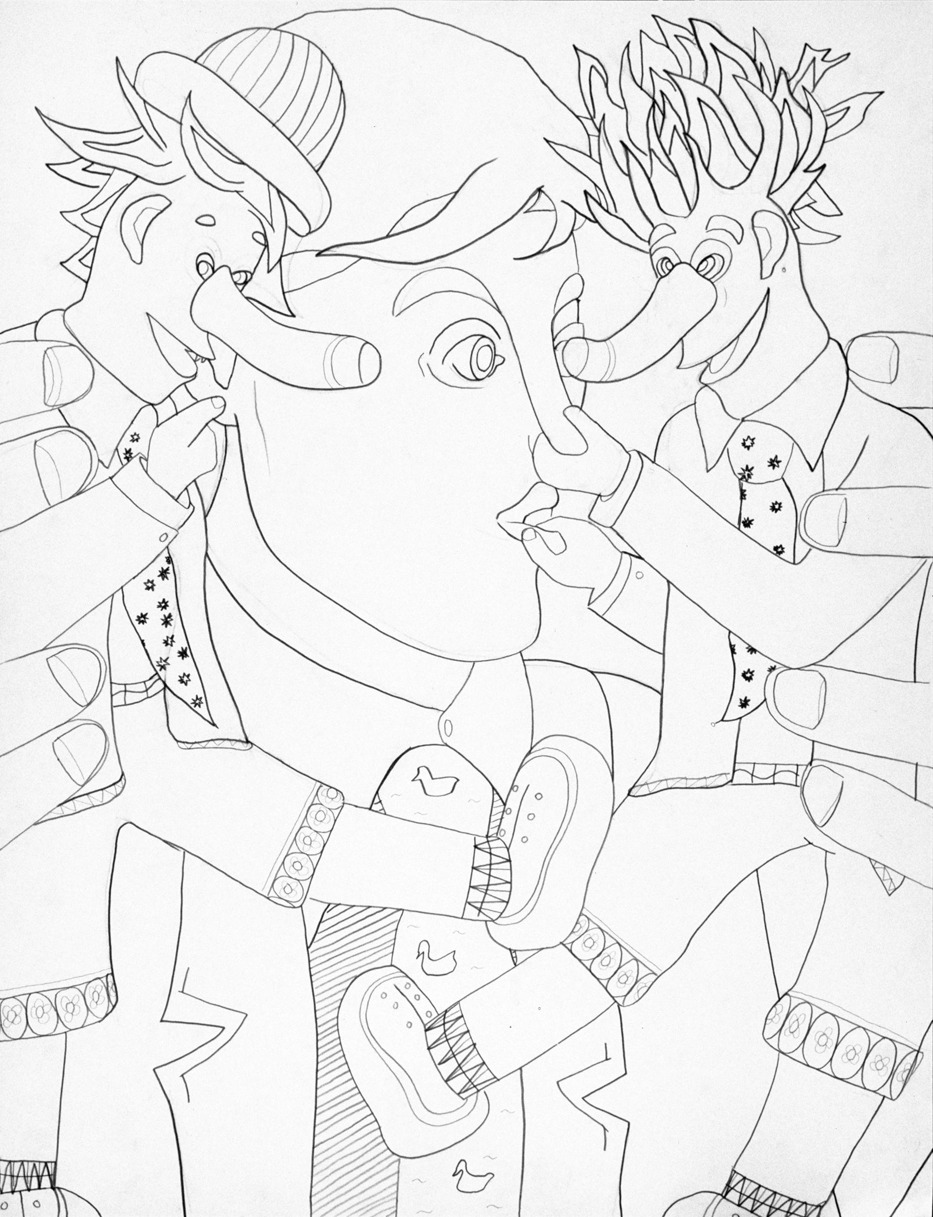 Mocking II, drawing by Wouter van Riessen
