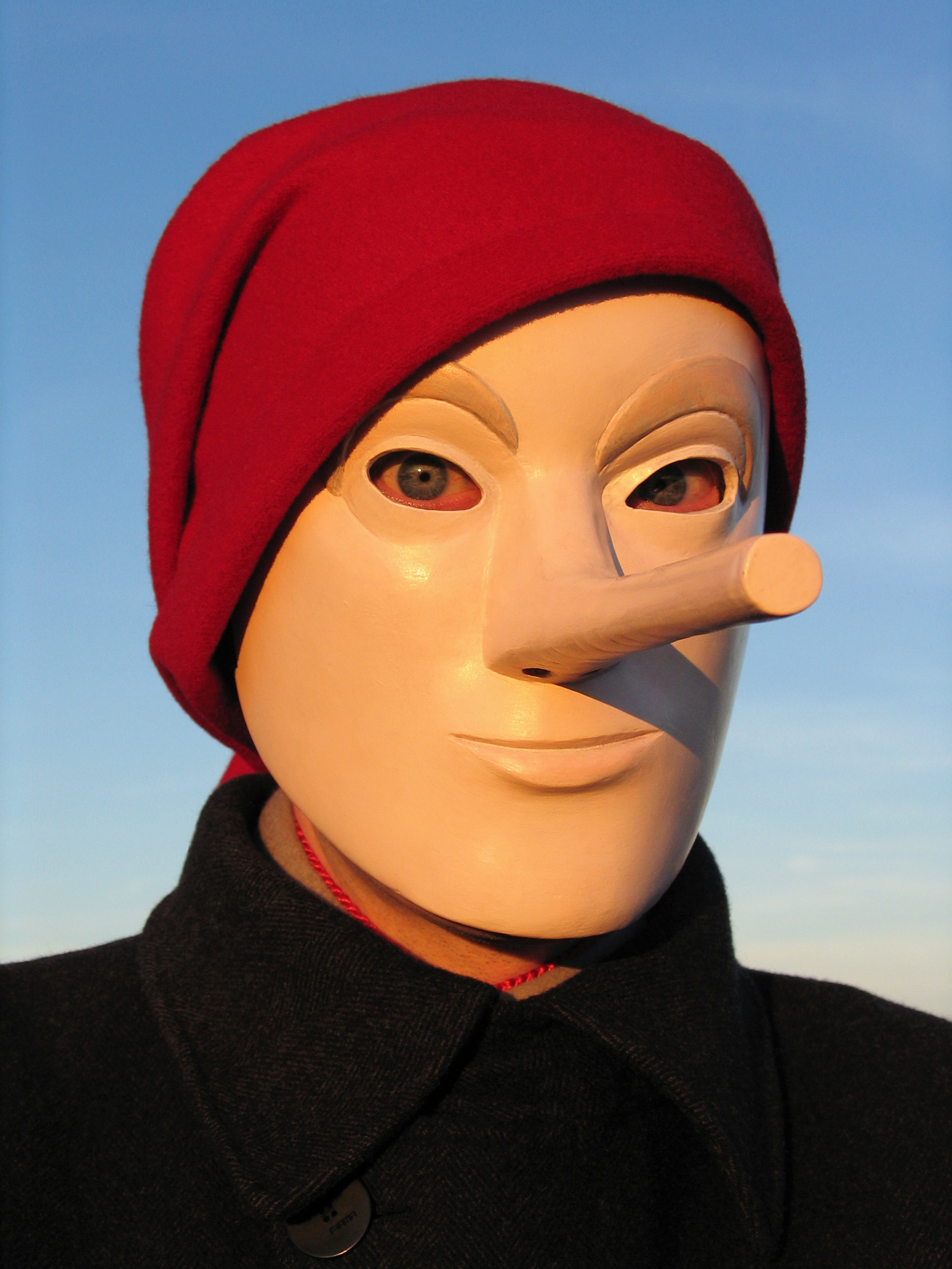 Pinocchio Self-portrait with Red Scarf, photograph by Wouter van Riessen