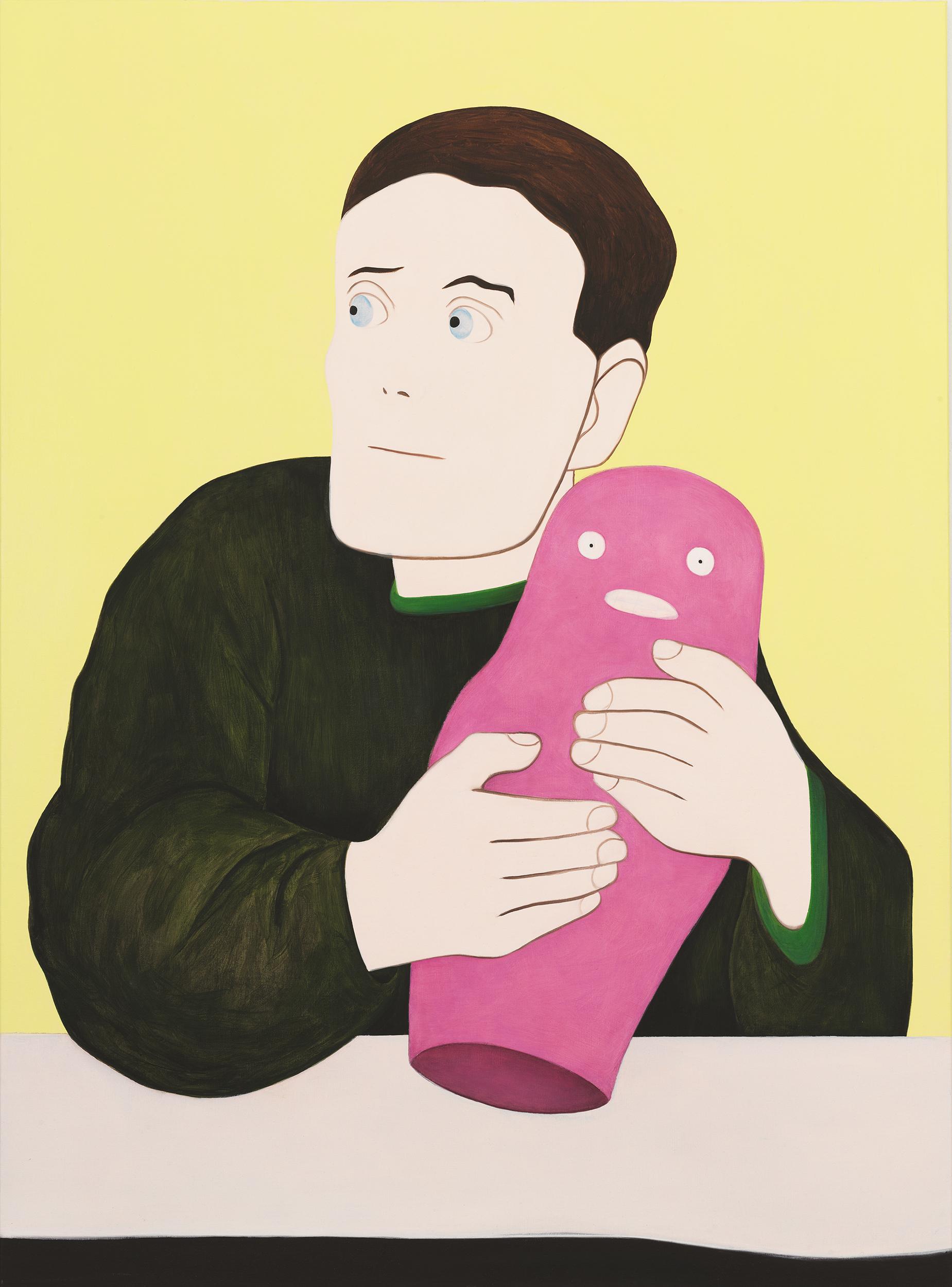 Self-portrait with Barbapapa, painting by Wouter van Riessen