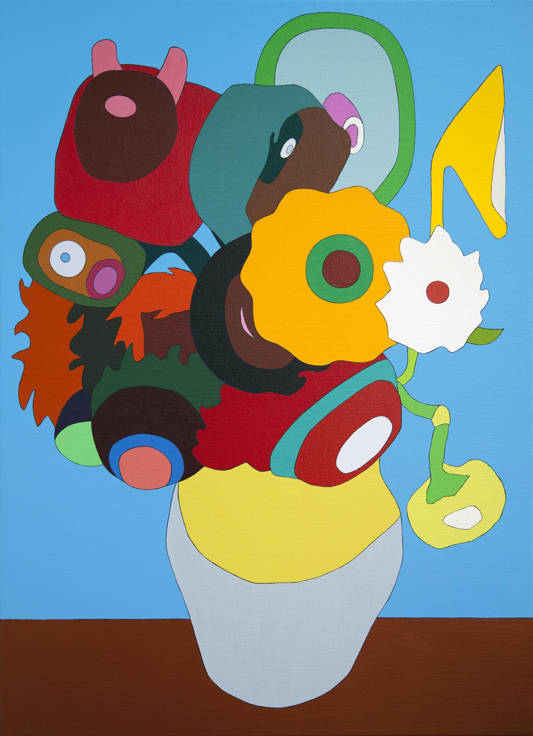 Twelve Sunflowers in a Vase II, painting by Wouter van Riessen